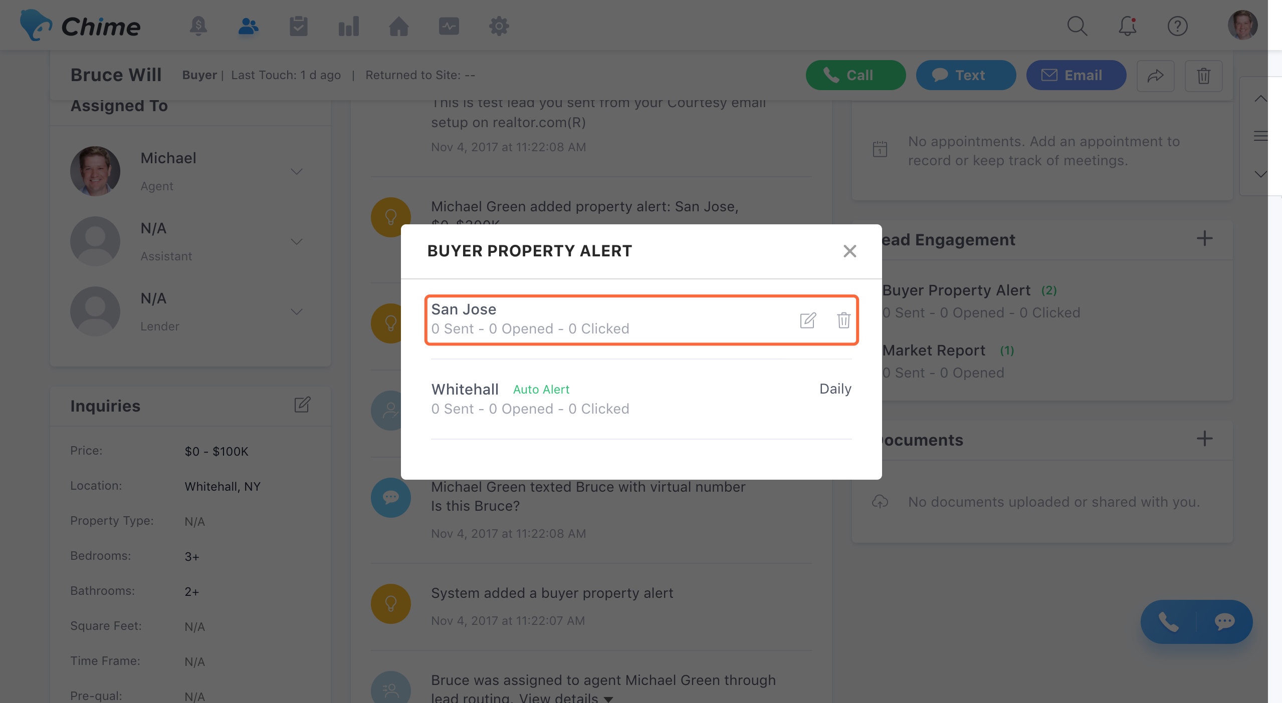 Buyer/Seller Property Alerts (Lead Engagement) – Chime Support ...