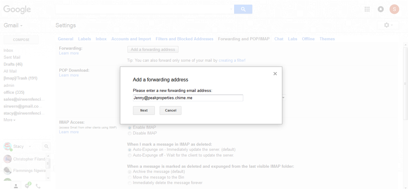 how to set up forwarding rules in gmail